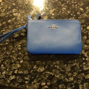Coach blue wallet wristlet